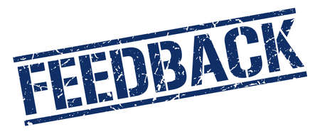 feedback: feedback blue grunge square vintage rubber stamp Illustration