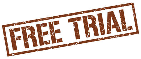 free trial: free trial brown grunge square vintage rubber stamp