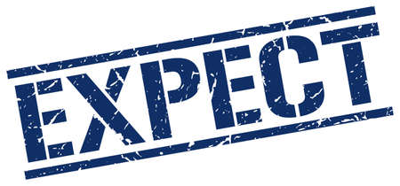 expect: expect blue grunge square vintage rubber stamp