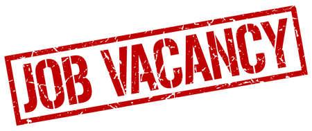 job vacancy: job vacancy red grunge square vintage rubber stamp Illustration