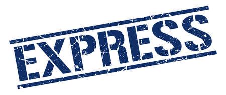 express: express blue grunge square vintage rubber stamp