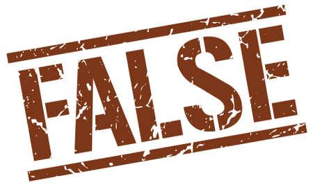 false: false brown grunge square vintage rubber stamp Illustration