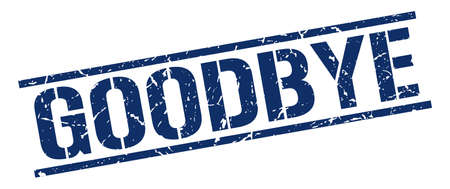 goodbye: goodbye blue grunge square vintage rubber stamp