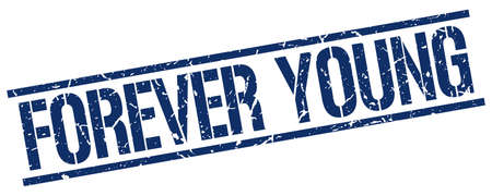 forever: forever young blue grunge square vintage rubber stamp Illustration