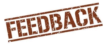 feedback: feedback brown grunge square vintage rubber stamp