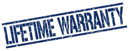 lifetime: lifetime warranty blue grunge square vintage rubber stamp