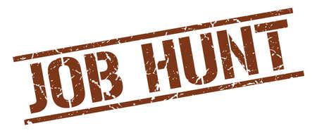job hunt: job hunt brown grunge square vintage rubber stamp