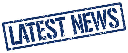 latest news: latest news blue grunge square vintage rubber stamp
