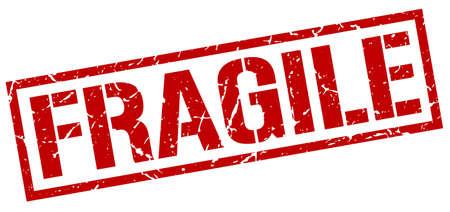 fragile red grunge square vintage rubber stamp
