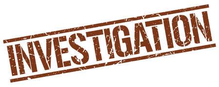 investigation: investigation brown grunge square vintage rubber stamp
