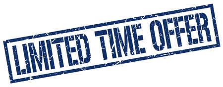 limited time: limited time offer blue grunge square vintage rubber stamp