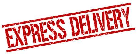 express: express delivery red grunge square vintage rubber stamp Illustration