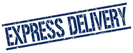 express: express delivery blue grunge square vintage rubber stamp