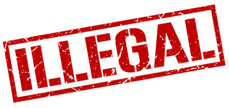 illegal: illegal red grunge square vintage rubber stamp