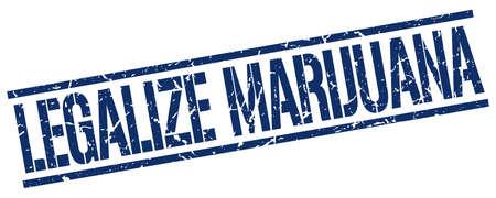 legalize: legalize marijuana blue grunge square vintage rubber stamp Illustration