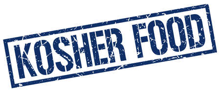 kosher: kosher food blue grunge square vintage rubber stamp Illustration