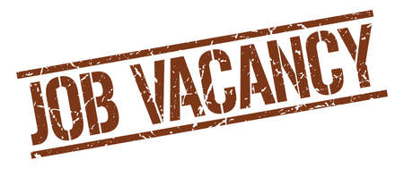 job vacancy: job vacancy brown grunge square vintage rubber stamp