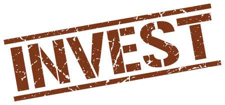 invest: invest brown grunge square vintage rubber stamp Illustration