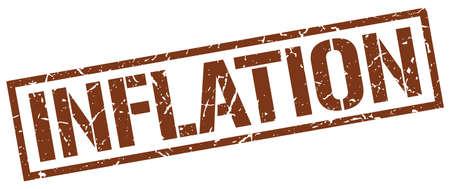 inflation: inflation brown grunge square vintage rubber stamp