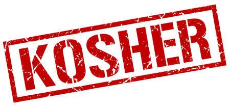 kosher: kosher red grunge square vintage rubber stamp