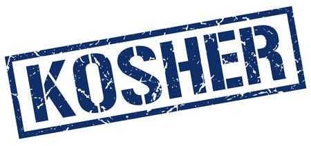 kosher: kosher blue grunge square vintage rubber stamp