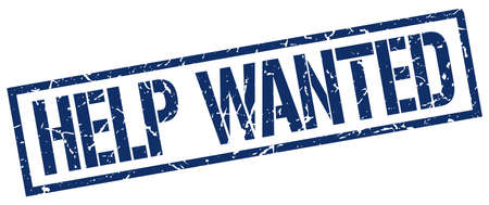 help wanted sign: help wanted blue grunge square vintage rubber stamp Illustration
