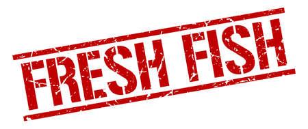 fresh fish: fresh fish red grunge square vintage rubber stamp