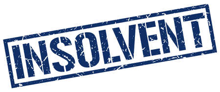 insolvent: insolvent blue grunge square vintage rubber stamp Illustration