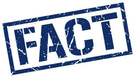 fact: fact blue grunge square vintage rubber stamp Illustration
