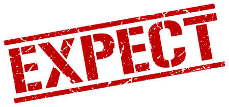 expect: expect red grunge square vintage rubber stamp