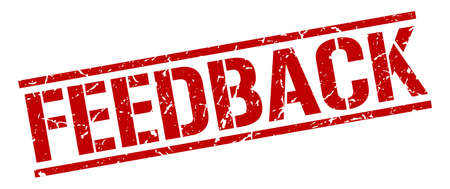 feedback: feedback red grunge square vintage rubber stamp