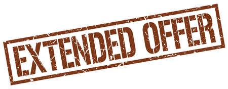 extended: extended offer brown grunge square vintage rubber stamp