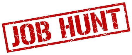job hunt: job hunt red grunge square vintage rubber stamp