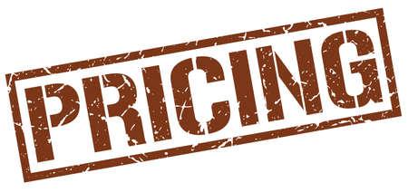 pricing: pricing brown grunge square vintage rubber stamp