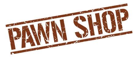 pawn: pawn shop brown grunge square vintage rubber stamp Illustration