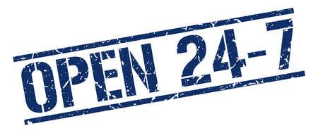 open 24 7 blue grunge square vintage rubber stamp