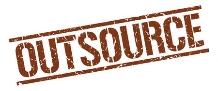 outsource: outsource brown grunge square vintage rubber stamp