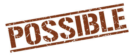 possible: possible brown grunge square vintage rubber stamp