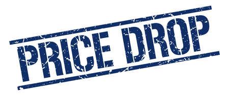 price drop: price drop blue grunge square vintage rubber stamp