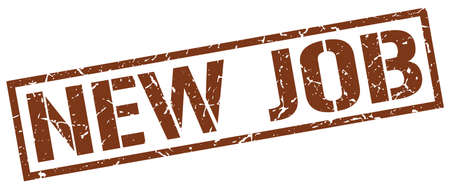 new job: new job brown grunge square vintage rubber stamp