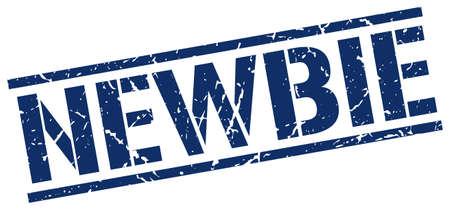 newbie: newbie blue grunge square vintage rubber stamp Illustration