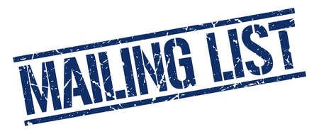 mailing: mailing list blue grunge square vintage rubber stamp Illustration