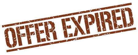 expired: offer expired brown grunge square vintage rubber stamp Illustration