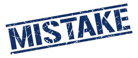 mistake: mistake blue grunge square vintage rubber stamp Illustration