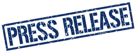 press release: press release blue grunge square vintage rubber stamp