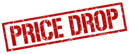 price drop: price drop red grunge square vintage rubber stamp