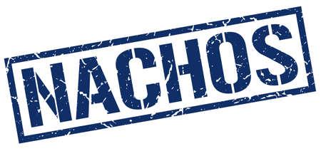 nachos: nachos blue grunge square vintage rubber stamp Illustration