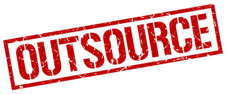 outsource: outsource red grunge square vintage rubber stamp