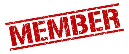 member: member red grunge square vintage rubber stamp