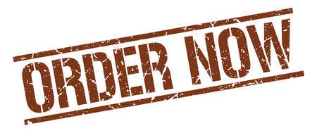order now: order now brown grunge square vintage rubber stamp Illustration